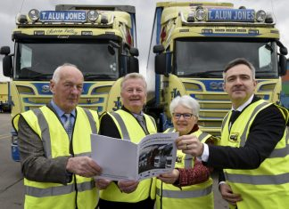 Pictured at the launch are Alun Jones (of T.Alun Jones), Paul Hinkins (Marches LEP), Ellen Ap Gwynn (Growing Mid Wales Partnership) and Rhodri Griffiths (Welsh Government)