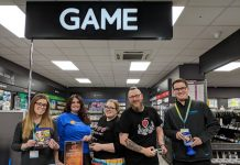 Kaz Peate (Maplin Manager) Mica Rose, Amy Walker, Rob Walker (GAME Concession Manager) and Johnny Breakell
