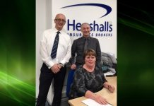 Carol McEwan celebrates her 30th anniversary with Henshalls Directors Mark Freeman and Martin Pitchford
