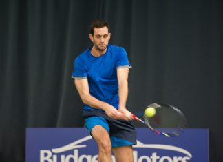 James Ward in action during his second round defeat at The Shrewsbury Club yesterday. Photo: Richard Dawson Photography