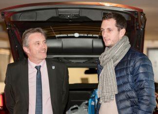 Dave Courteen, left, the managing director of The Shrewsbury Club, talks to British star James Ward at last night's civic reception at Budgen Motors in Shrewsbury. Photo: Richard Dawson Photography