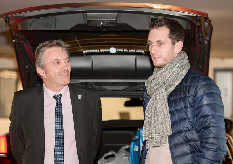 Dave Courteen, left, the managing director of The Shrewsbury Club, talks to British star James Ward at last night's civic reception at Budgen Motors in Shrewsbury. Photo: Richard Dawson Photography