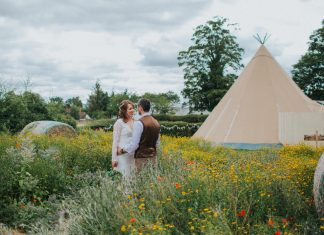 Laura Stephenson and Tim Collins were married in the rustic woodland ceremony site at The Wroxeter. Photo: Lisa Webb Photography