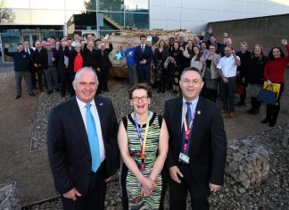 Business meetings can be fun: Shropshire Chamber of Commerce Chief Executive Richard Sheehan with Jane Wilson, Operations Manager at SP Services with SP Services MD Steve Bray - and their neighbours