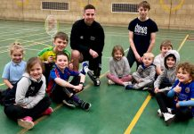 Coach Chris Bebb and local youngsters having fun at a SEN Multi-Sports Club session at Shrewsbury's London Road Sports Centre