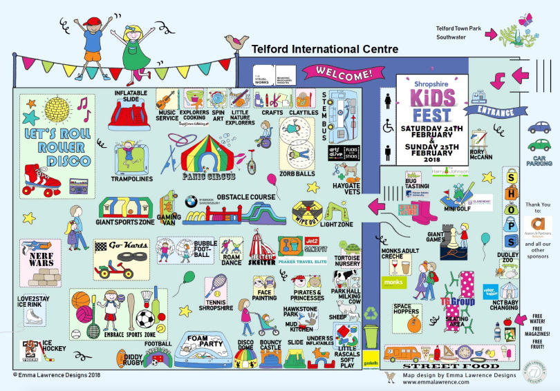 Shropshire kids fest - Telford International Centre map 2018 - Large