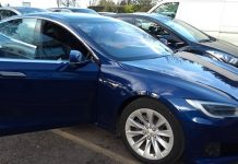 The electric-powered Tesla private hire vehicle owned by Richard Mear