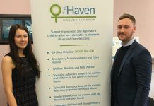 Jade Secker, senior community fundraiser at The Haven and Chris Smith, account manager for Pure Telecom