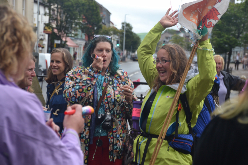 Ursula Martin reaching the finish line after her epic 3,700-mile journey around Wales