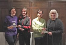 Pictured from left, Gemma Brown of Cameron's Fund, Jean James of Bridgnorth Running Club, Julie Roberts of Bridgnorth Running Club and Liz Bird of Bridgnorth Food Bank