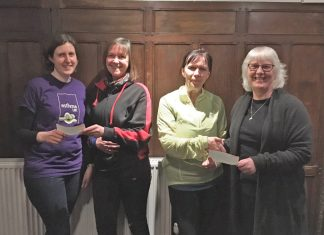 Pictured from left, Gemma Brown of Cameron's Fund, Jean James of Bridgnorth Running Club, Julie Roberts of Bridgnorth Running Club and Liz Bird of Bridgnorth Food Bank