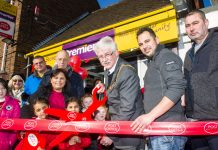 Mayor of Telford and Wrekin Cllr Stephen Reynolds joined Paula Kaur and her husband John who have opened the new Post Office at Alma Stores