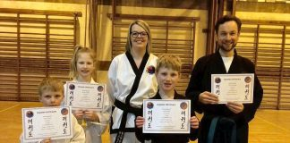 Bridgnorth Tae Kwon-Do instructor Anna Bradford with students