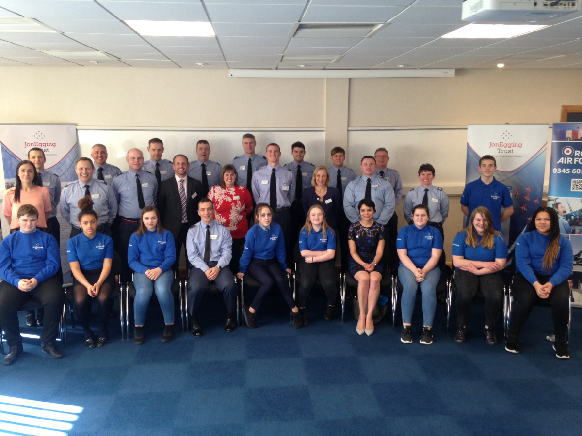 Students together with Dr Emma Egging, CEO of the Jon Egging Trust (front row fourth from right), Group Captain Tone Baker, Station Commander of RAF Cosford,  (front row, fourth from left) and Head Teacher of Charlton School, Andy McNaughton (standing second row, fourth from left)