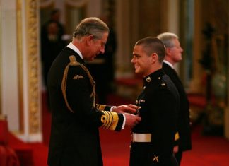 Matt Bispham received the Military Cross for hand to hand combat with the Taliban