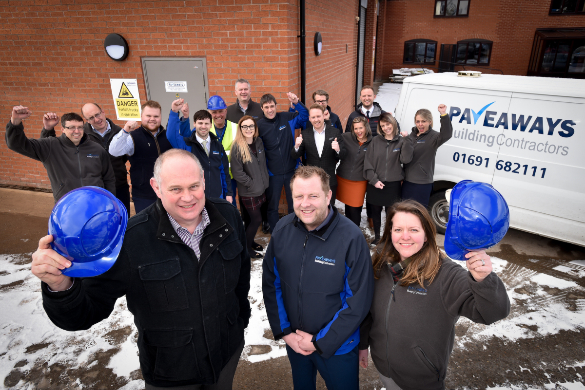 Managing Director Steven Owen, Commercial Director Victoria Lawson and Construction Director Jamie Evans outside the newly expanded Pave Aways offices