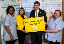 Philip Dunne MP with Fay Ripley and Marie Curie nurses