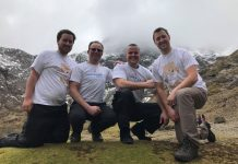 Training on Snowdon, from left Chris Spriggs, Sean Bolas, Jeremy Rose and Robin Talbot of Ocean Telecom who will all be taking on The Three Peaks Challenge for The Movement Centre