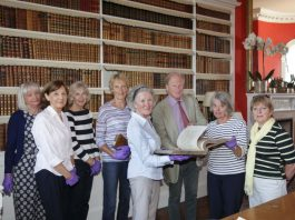 Philip Godsal with some of the volunteers from the Arts Society Tarporley
