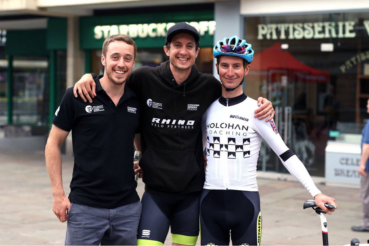 Brothers Tom Pook and Chris Pook, who both rider for Rhino Velo, with former UCI professional Liam Holohan