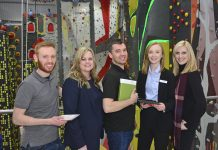 Pictured at the event are, from left, David Clark, Leah Whitley of Climbing the Walls, Andy Hodnett of Yarringtons, Joanna Jago of Global Freight and Kathryn Holloway of Promofix Ltd