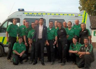 Shropshire volunteers with comedian Russell Kane