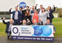 The Pure Telecom team celebrating their success