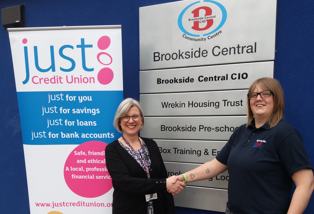 Adele Haynes, Just Credit Union Outreach Officer who will be running the weekly outreach sessions, and right Sam Smith, Co-ordinator for Brookside Big Local