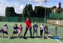 Coach Ollie Gwilt with youngsters at a Tennis for Kids course at Lilleshall Tennis Club