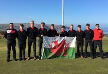 Connor with his Welsh team mates and their trophy after beating Ireland