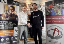 Craig Farr, right, the Crossbar Alternative Provision (CAP) manager with Allan Pugh, the general manager of Anytime Fitness Shrewsbury, which will be offering work experience opportunities to youngsters involved with the programme
