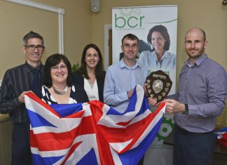 BCR director Nick West with quiz winners from law firm Hatchers