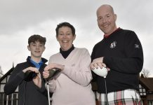 Captains Luke Blocksidge, Meg Jones and Nick Collins at Lilleshall Hall Golf Club