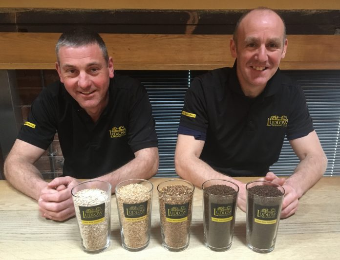Gary and Chris of Ludlow Brewery with brewing malts which add colour and flavour