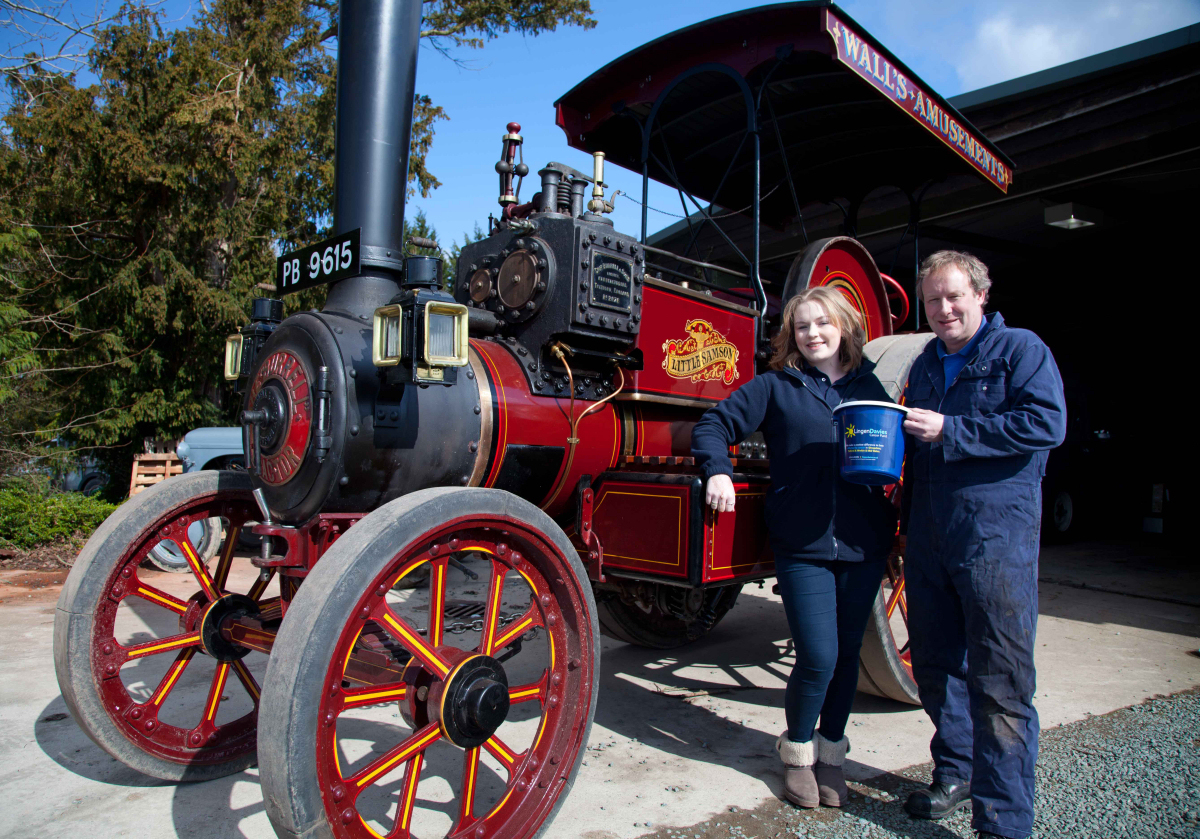 Lizzy Coleman. Events and Fundraising Officer. Lingen Davies Cancer Fund and Edward Goddard, Chairman of the County of Salop Steam Engine Society (Shrewsbury Steam Rally)