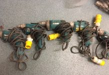 Some of the power tools which were found. Photo: West Mercia Police
