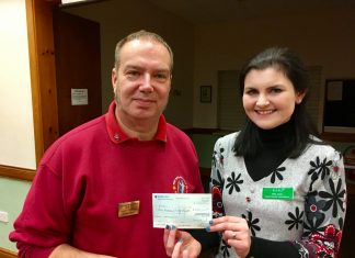 Richard Haynes, Chairman of the Mid Shropshire Vintage Club and Kate Jones, Midlands Regional Fundraising Manager for RABI