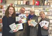 John Hall of Write Here is pictured preparing for the event with local card designers, from left, Emma Lawrence from Pontesbury and Linda Edwards and Emma Dryburgh of Shrewsbury. John is holding cards created by Cherie Jerrard of Shrewsbury and Diane Williams of Norbury, south Shropshire