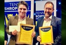 Josh Price, on behalf of Monkmoor Recreation Ground and Simon Jones, for Tennis Shropshire's Fun Competitions will collect British Tennis Awards in June