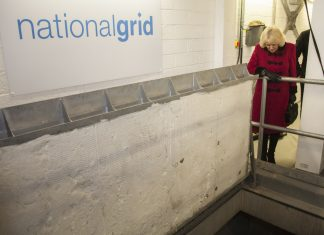 The rapid opening stretcher access cover designed and manufactured by FSP is pictured at the opening of the service shaft being inspected by HRH The Duchess of Cornwall. Photo: National Grid