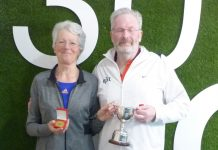 Louise Fisher and Ian James, the Tennis Shropshire mixed doubles over-50s champions