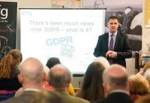 mfg's Chris Piggott addressing guests on GDPR concerns and actions