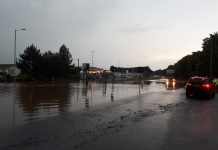 The A41 at Albrighton was flooded following heavy rain. Photo: @TelfordPatrol