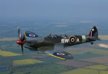 Alex Whittles takes to the air in the Spitfire