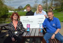 Presenting the cheque to Emma Butler, regional community fundraiser for The Alzheimer's Society, are Edward Goddard, managing director of Morris Leisure, fundraiser Maria Buck and Tracy Barrett, assistant manager of Oxon Hall Touring Park and Oxon Pool Holiday Home Park