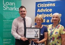 David Benson, IMLT Liaise Manager presents Citizens Advice Telford with the Stop Loan Sharks Highly Commended Award for their work