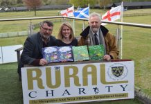 Shropshire author Lorna McCann pictured with Ian Bebbington, Chief Executive of the Shropshire & West Midlands Agricultural Society and Lance Jackson, Society Chairman