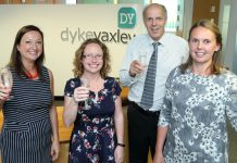 Francesca Hutcheson (left) and Stacey Lea (right) with fellow directors at Dyke Yaxley Marie Bramwell and Laurie Riley