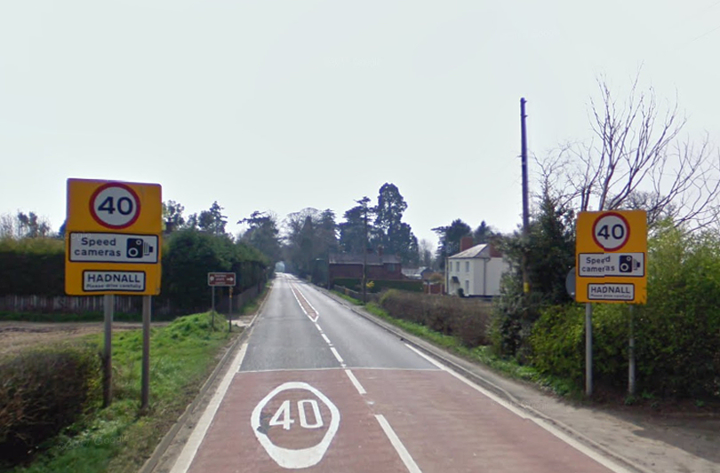 The A49 at Hadnall was closed for a time due to the fallen power cable. Image: Google Street View