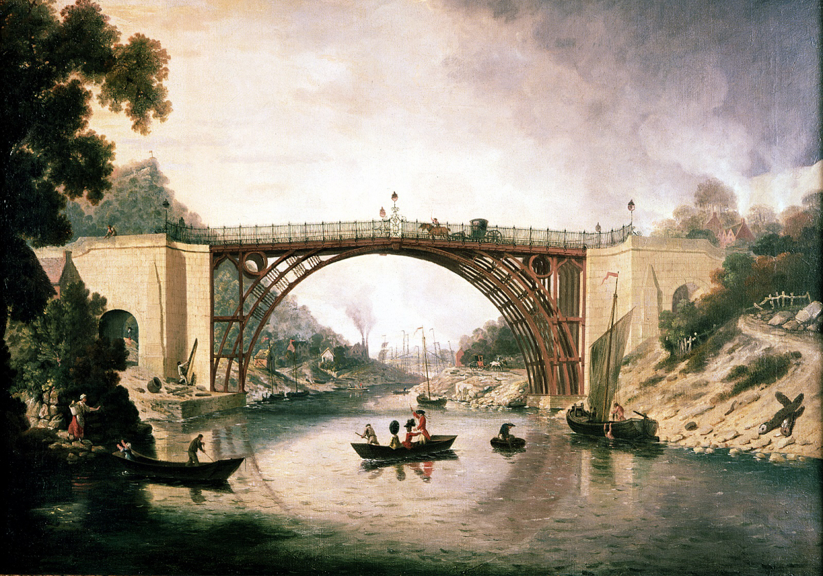 William Williams' 1780 painting, one of the earliest depictions of the bridge which shows the historic colour. Image: Courtesy of Ironbridge Gorge Museum Trust